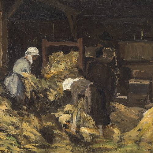 Baer, Fritz. Mägde bei der Arbeit. Öl/Karton. 28 x 37 cm. Sign., dat. 24.
