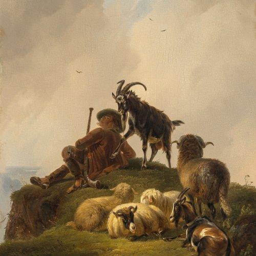 Voltz, Friedrich, Schäfer mit Ziege
