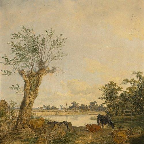 Wagenbauer, Max Josef, zugeschrieben, Gemälde Kühe am Dorfweiher