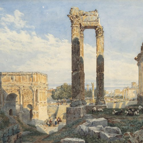 Glennie, Arthur. Forum Romanum. Aquarell. 34 x 47 cm. Rücks. sign.