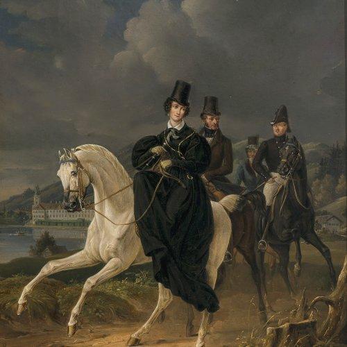 Mayr, Heinrich von, Gemälde Prinzessin Ludovica zu Pferd, im Hintergrund Schloss Tegernsee
