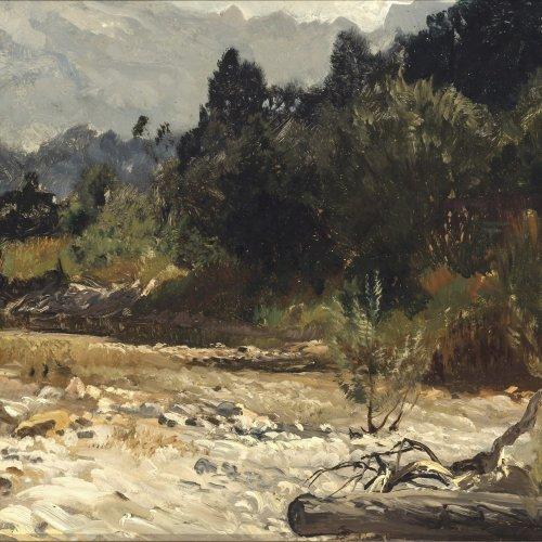 Wenglein, Josef. Sommertag im Isartal. Öl/Holz. 27,5 x 42,5 cm. Monogr.