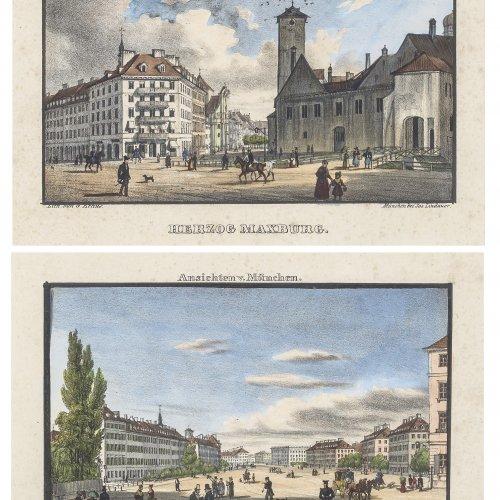 Kraus, Gustav. Maximiliansplatz und Herzog Max Burg. Zwei Farblithografien. Je ca. 9 x 15 cm.