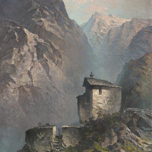 Mulley, Oskar. Kapelle in einem Hochtal. Öl/Lw. 150 x 113 cm. Sign., dat. 42. Mit Gutachten von Mag. Günther Moschig.