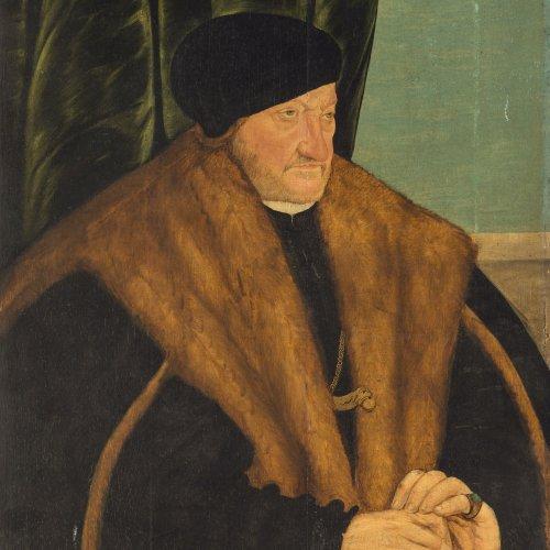 Cranach der Ältere, Lucas, Umkreis, 15./16. Jh. Porträt eines höfischen Herrn. Öl/Holz. 63 x 48 cm. Besch., parkettiert. Unsign.