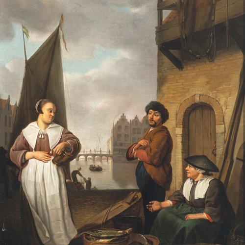 Sorgh, Hendrik Martensz. Einkaufende Magd bei einem Fischverkäuferpaar am Hafen. Öl/Lw. 50 x 37,5 cm. Rest., doubl. Sign., dat. 1664.
