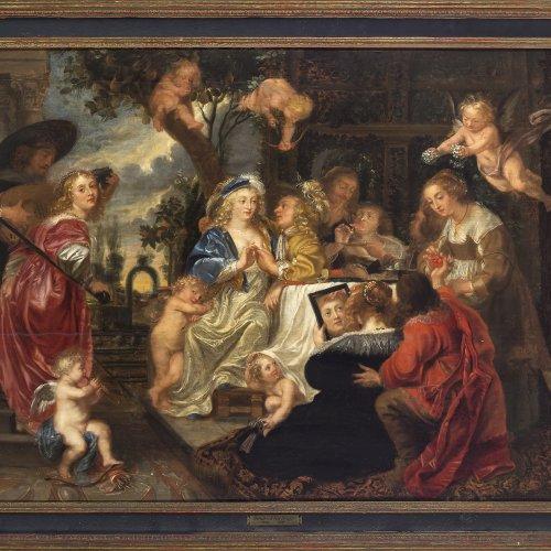 Rubens, Peter Paul, Umkreis. Der Liebesgarten. Öl/Holz. 74 x 117 cm. Berieben, Riss, rest. Unsign.