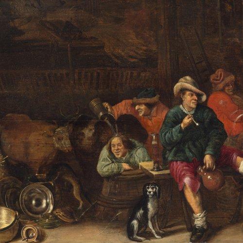 Bogaert, Hendrick Hendricks, zugeschrieben. Zechende und rauchende Bauern vor geöffneter Stalltür. Öl/Holz. 46 x 62,5 cm. Rest. Unsign.