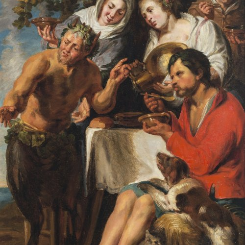 Jordaens, Jacob, Nach. Der Satyr bei Bauern. Öl/Holz. 71 x 50 cm. Rest., parkettiert. Unsign.