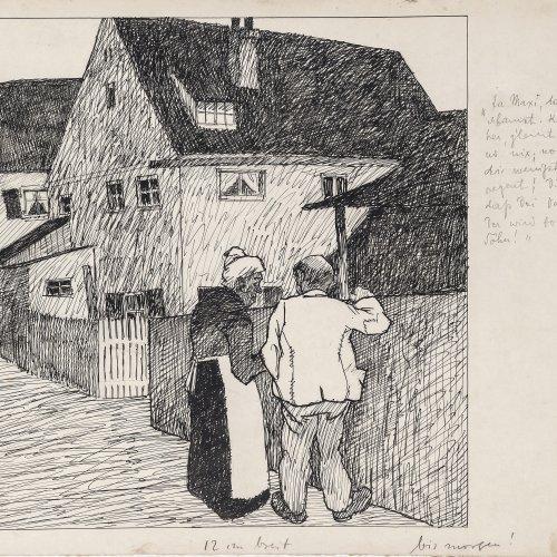 Graef, Richard. Mappe (Konvolut). Zeichnungen, Papierarbeiten, versch. Größen. Tw. fleckig. Sign.