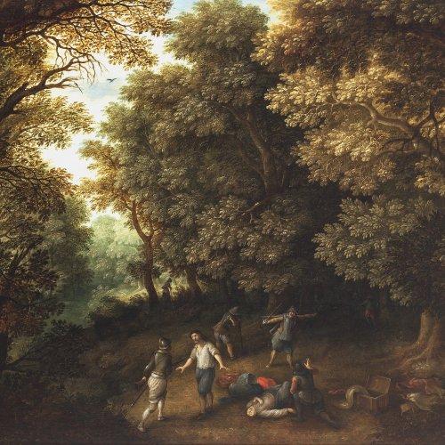 Coninxloo III, Gillis van, zugeschrieben. Überfall im Eichenwald. Öl/Holz. 59 x 78,5 cm. Rest. Unsign.