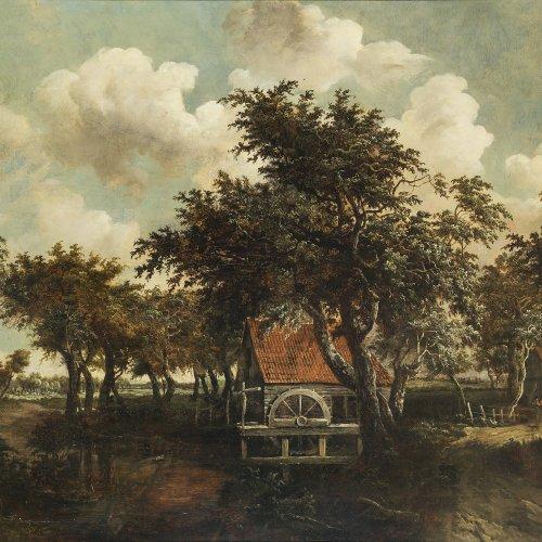 Hobbema, Meindert, zugeschrieben. Mühle im Eichenhain. Öl/Holz. 58 x 80 cm. Besch., rest. Unsign. Erwähnt in der Datenbank des Rijksmuseums in Amsterdam.