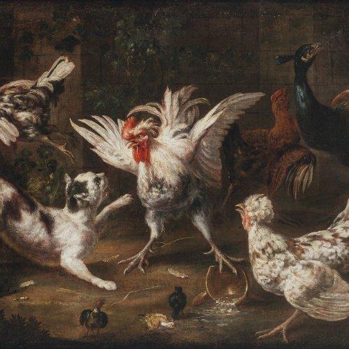 Flämisch, 17. Jh., Umkreis Pieter van Boeckel(?). Geflügelhof mit Katze. Öl/Lw. 63 x 86,5 cm. Rest., doubl. Unsign.