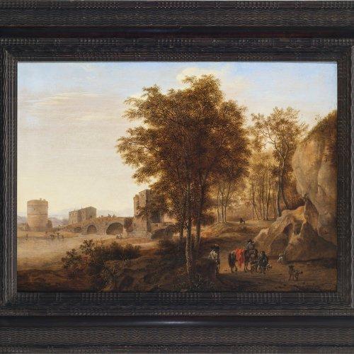 Both, Jan, zugeschrieben. Blick auf die Ponte Lucano über den Anio bei Tivoli, im Vordergrund Gruppe von Reisenden. Öl/Holz. 42,5 x 58 cm. Rest. Unsign.