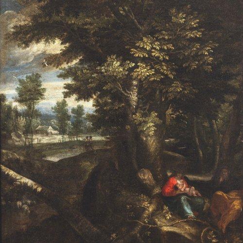Arthois, Jacques, d´, zugeschrieben. Ruhe auf der Flucht. Unter einer üppig belaubten Eiche. rastende Familie. Öl/Lw. 73,5 x 58 cm. Besch., rest., doubl. Unsign.