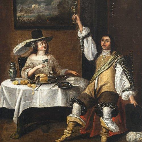 Lamen, Christoph Jacobsz van der, zugeschrieben. Dame und Herr zu Tisch. Die Dame trägt einen Feder geschmückten Hut, der lässig mit Stulpenstiefeln und Schärpe sitzende Herr erhebt dem Betrachter zugewendet sein Glas. Öl/Lw.  55,5 x 45 cm. Besch., rest., doubl. Unsign.
