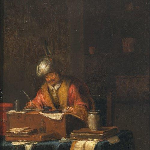 Tol, Dominicus van, zugeschrieben. Gelehrter mit Turban am Schreibpult. Öl/Holz. 23 x 17 cm. Rest. Undeutl. bez.