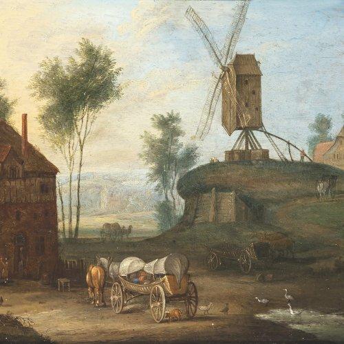Stalbemt, Adriaen von, zugeschrieben. Ortschaft mit Leiterwagen und Windmühle. Öl/Kupfer. 15 x 20 cm. Unsign.