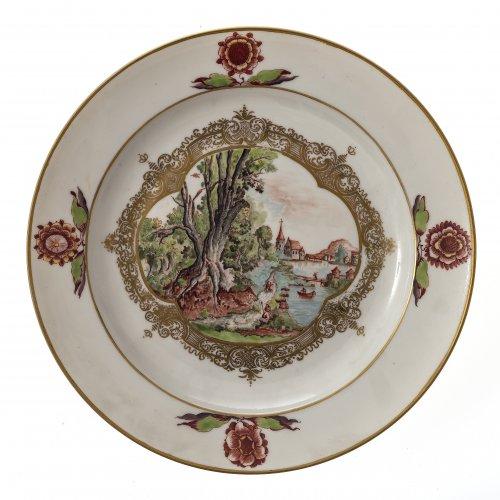 Teller, Flusslandschaft, Meissen um 1740