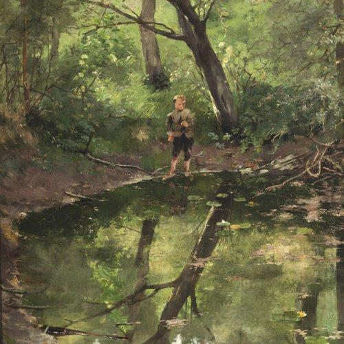 Schneidt, Max. Angelnder Bub an einem Waldsee. Öl/Holz. 41 x 33 cm. Sign., dat. 1876.