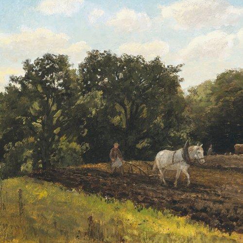 Voltz, Ludwig. Pflügender Bauer. Öl/Karton. 28,5 x 44 cm. Sign.