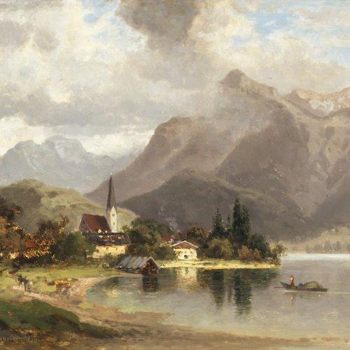 Morgenstern, Carl Ernst. Blick auf den Tegernsee. Öl/ Holz. 24 x 32 cm. Sign., dat. 1874.