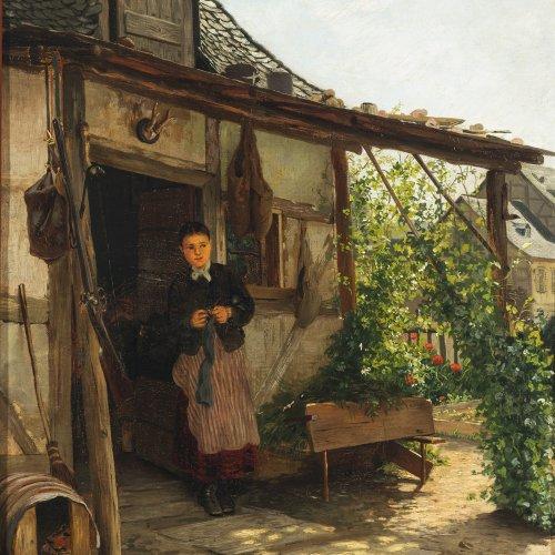 Seyppel, Carl Maria. Junges Mädchen vor einem Haus. Öl/Karton. 55 x 39 cm. Sign., dat. Mai 1881, bez.: Rhein...