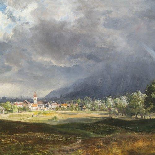 Andersen-Lundby, Anders, zugeschrieben. Blick auf Niederaudorf, mit Benediktbeuern im Hintergrund.  Öl/Holz. 55 x 73 cm. Unsign.