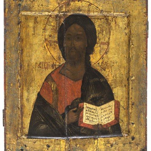 Ikone. Russland, 19. Jh. Christus Pantokrator. Tempera/Holz. 32,5 x 28 cm. Besch., berieben.