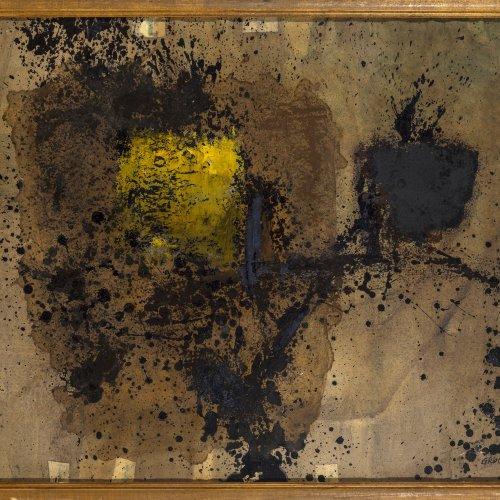 Gruchot, Heinz. Abstrakte Komposition. Öl/Hartfaser. 45 x 66 cm. Sign., dat. 61.