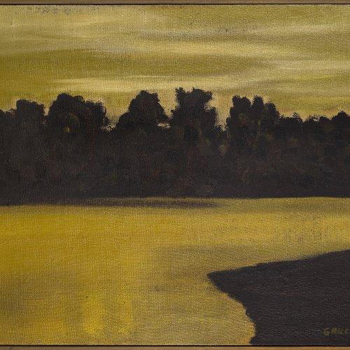 Gruchot, Heinz. Flusslandschaft. Öl/Lw. 70 x 90 cm. Sign., dat. 62.