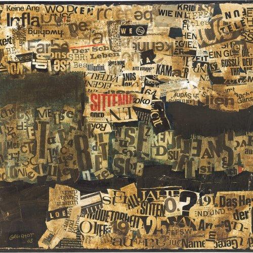 Gruchot, Heinz. Große Collage. Öl/Papier/Lw. 80 x 100 cm. Sign., dat. 65.