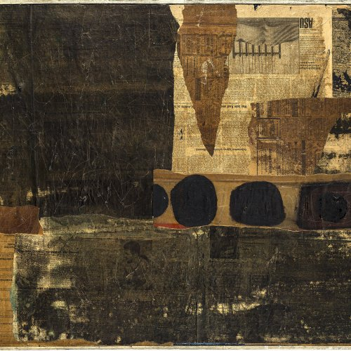 Gruchot, Heinz. Collage. Öl/Papier/Lw. 70 x 130 cm. Sign., dat. 2/65.