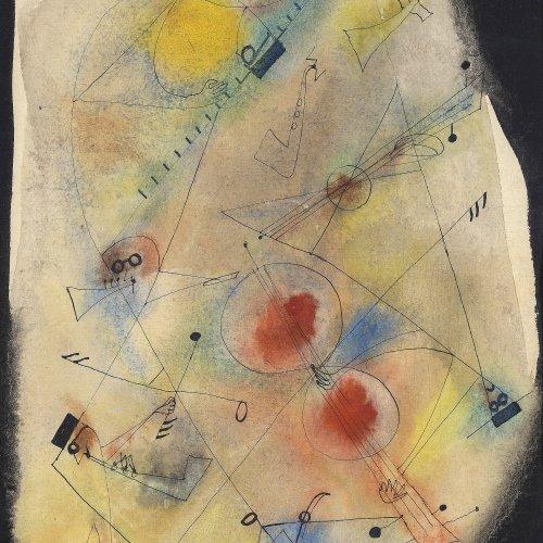 Gruchot, Heinz. Abstrakte Komposition (Hommage an Klee). Aquarell/Mischtechnik/Papier. 31 x 19 cm. Sign., dat. 49.