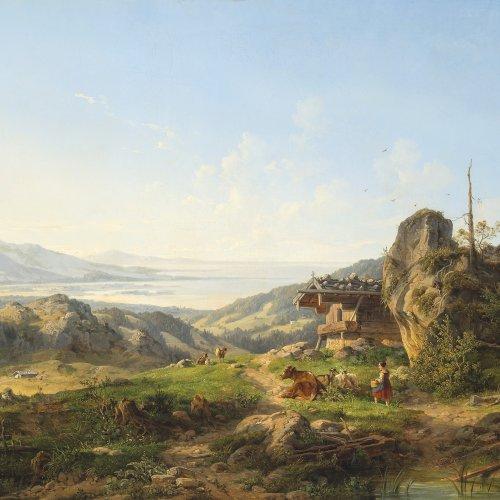 Ott, Johann Nepomuk. Alm auf der Kampenwand, mit Blick auf den Chiemsee. 56,5 x 76 cm. Öl/Lw. Doubl., rest. Sign., dat. 1848
