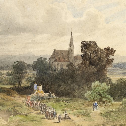 Mali, Johann Jan Cornelius. Prozession in Oberbayern. Aquarell. 31,5 x 42,5 cm. Unsign.