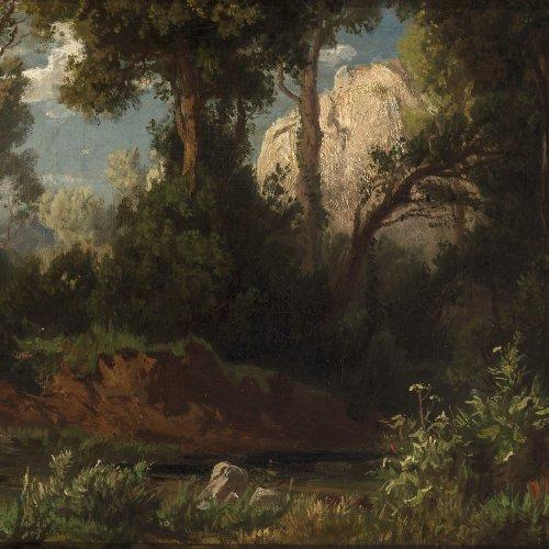 Weber, August. Waldlandschaft. Öl/Lw. 26 x 39, 5 cm. Rest., sign.