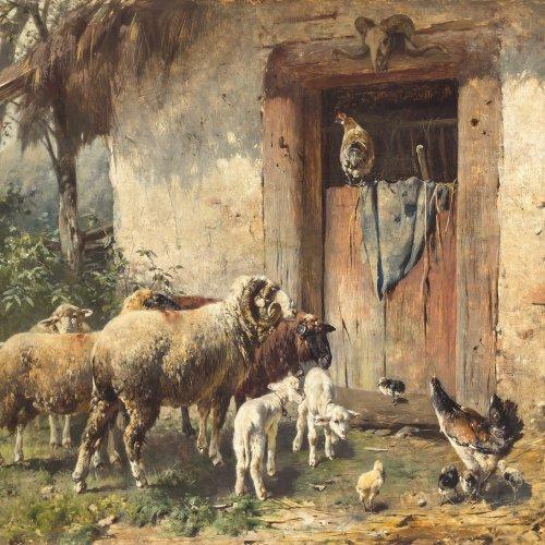 Gebler, Otto. Schafe und Hühner vor dem Stall. Öl/Holz. 50 x 68 cm. Rest. Sign.