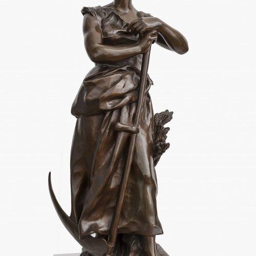 Aubé, Jean Paul. Schnitterin, um 1900. Bronze. H. 77 cm. Sign.