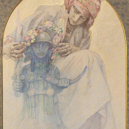 Mucha, Alfons, zugeschrieben. Mischtechnik/Papier. 56,5 x 44,5 cm. Sign., dat. 29.