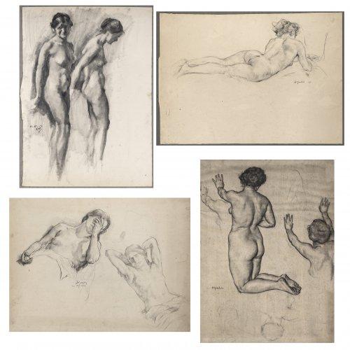 Groeber, Hermann. Vier Mädchenakte. Kohle. versch. Größen. je ca. 45 x 62 cm. Monogr., tw. dat. 1911, 1919