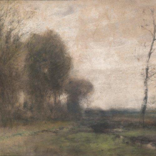 Willroider, Ludwig. Baumgruppe an einem Bachlauf im Vorfrühling. Pastell. 39 x 48 cm. Sign.