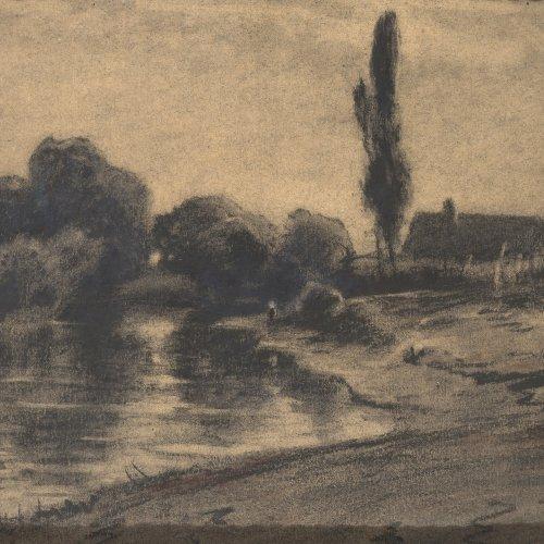 Willroider, Ludwig. Kleiner Dorfweiher mit Pappeln. Kohlezeichnung. 23 x 31 cm. Restsign.