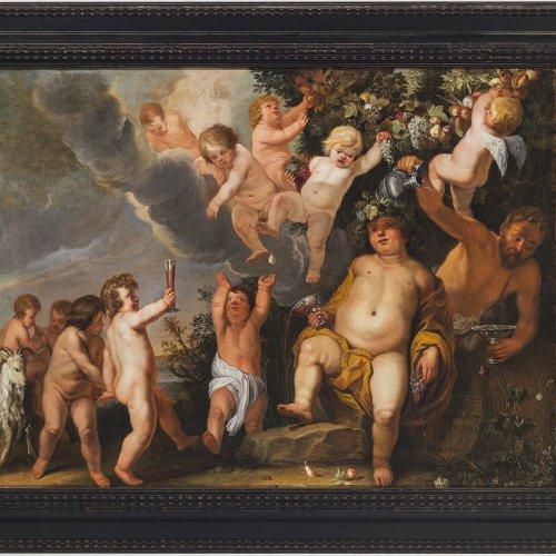 Willaerts, Abraham, Umkreis. Bacchanal.  Fröhliche, Wein trunkene Bacchanten und Satyr unter Blumengirlanden. Öl/Lw. 63 x 84 cm. Rest., doubl. Bez., dat. 1647.