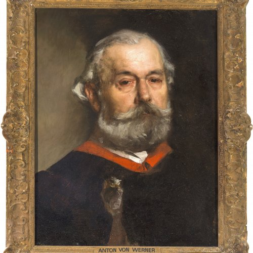 Werner, Anton von, zugeschrieben. Brustporträt Kaiser Friedrich III. Öl/Holz. 60 x 47 cm. Verso: Kaiserlich deutsches Konsulat in Manchester. Unsign.