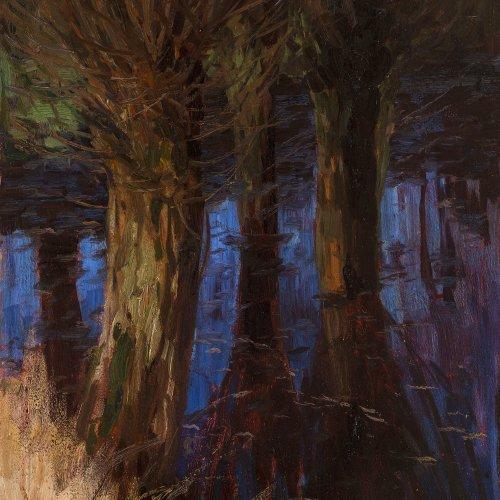 Palmié, Charles Johann. Nächtlicher Wald. Öl/Karton. 61,5 x 47 cm. Min. Farbabrieb. Sign.