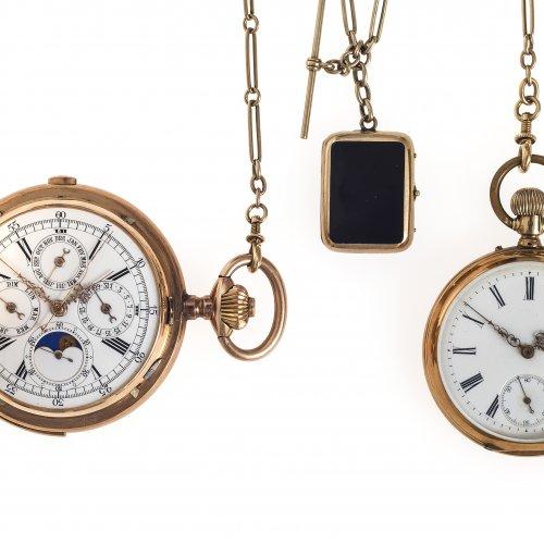 Herrensavonette und Herrentaschenuhr mit einer Uhrenkette