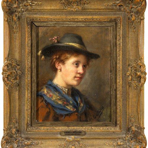 Müller, Emma von. Porträt eines jungen Bauernmädchens. Öl/Holz. 25,5 x 20,5 cm. Sign.