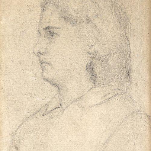 Defregger, Franz von. Tirolerin. Bleistiftskizze. 12,5 x 10 cm. Gebräunt Unsign.