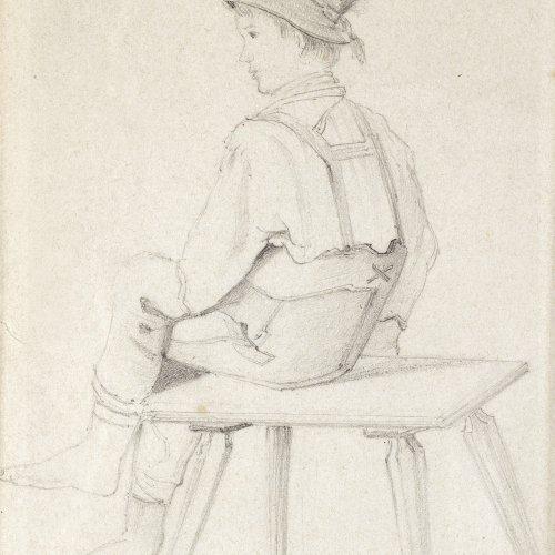 Defregger, Franz von. Tiroler Bauernjunge. Bleistiftskizze. 18,5 x 12,5 cm. Min. gebräunt. Unsign.